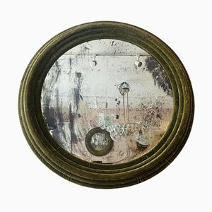Large Round Wall Mirror in Green Velvet