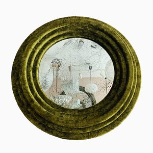 Small Round Wall Mirror in Green Velvet
