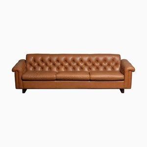 Tufted Camel Colored Leather Sofa by Karl Erik Ekselius for Joc Design, 1970s