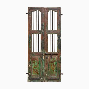 19th-Century Antique Shutters with Metal Bars, India, Set of 2