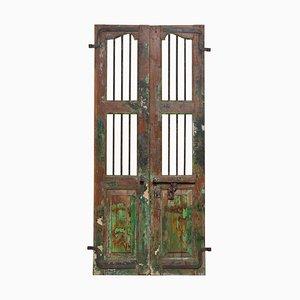 Antike Fensterläden mit Metallbarren aus Indien, 2er Set, 19. Jh