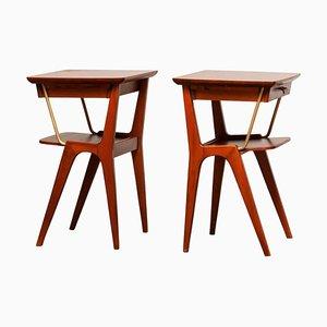 Tables de Chevet en Acajou avec Détails en Laiton, Suède, 1950s, Set de 2
