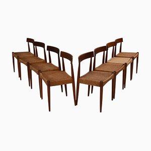 Mid-Century Teak Esszimmerstühle von Arne Hovmand-Olsen für Mogens, 8er Set