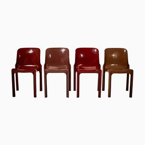 Selene Red Stacking Chairs by Vico Magistretti for Artemide, 1960s, Set of 4