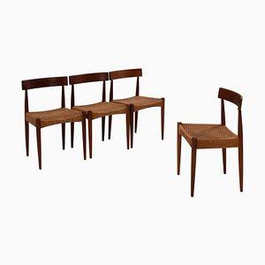 Mid-Century Teak Esszimmerstühle von Arne Hovmand-Olsen für Mogens, 4er Set