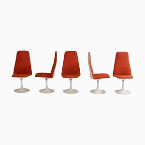 Vintage Orange Viggen Dining Chairs by Borge Johanson, 1960s, Set of 5