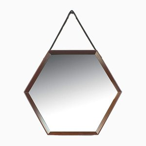 Italian Hexagonal Mirror with Wooden Frame and Leather Strap