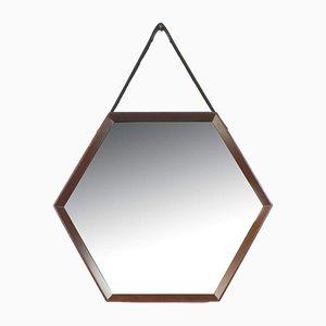 Sechseckiger italienischer Spiegel mit Holzrahmen und Lederriemen
