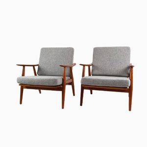 GE-270 Teak Lounge Chairs by Hans Wegner for Getama, Set of 2