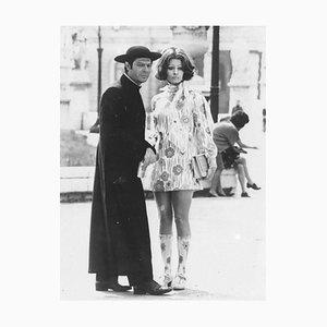 Unknown, Marcello Mastroianni and Sophia Loren, Vintage Black & White Photograph, 1970s