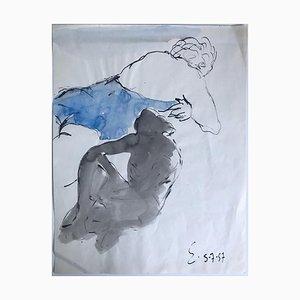 Henri Espinouze, Figur, Originale Zeichnung, 1957