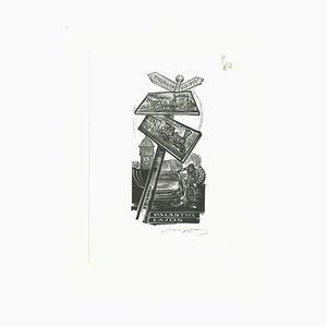 Unbekannt, Ex Libris Lajos, Original Holzschnitt, Mitte des 20. Jh