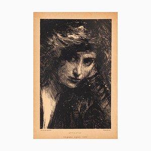 Litografia di Albert De Belleroche, ritratto di Mele Clifton, inizio XX secolo