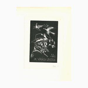 Unknown, Ex Libris Dr. Viragh Zoltàn, Original Woodcut Print, Early 20th-Century