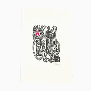 Unbekannt, Ex Libris Sarai Csalad, Original Holzschnitt, Mitte des 20. Jh