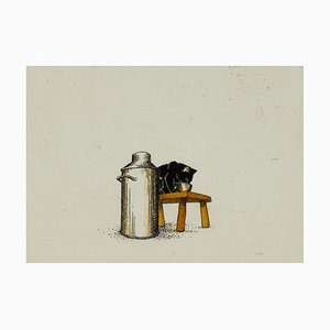 Unknown, Drinking Milk Kitty, Original Ink and Watercolor, Early 20th-Century