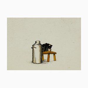 Unknown, Drinking Milk Kitty, Original Tinte und Aquarell, Frühes 20. Jahrhundert
