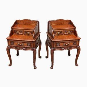 French Solid Oak Bedside Cabinets, Set of 2