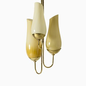 Brass and Glass Chandelier by Gunnel Nyman & Paavo Tynell