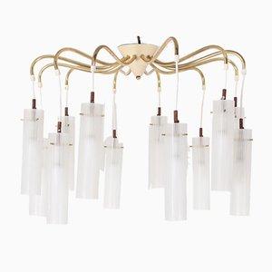 Italian Brass & Opaline Glass Ceiling Lamp