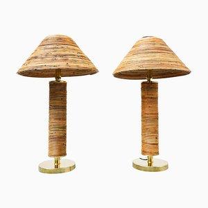 Italienische Mid-Century Messing & Bambus Tischlampen, 1970er, 2er Set