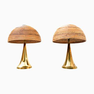 Mid-Century Brass and Bamboo Table Lamps, 1970s, Set of 2