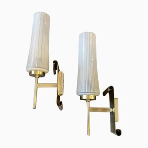 Mid-Century Modern Brass and Glass Wall Sconces in the Style of Stilnovo, 1950s, Set of 2