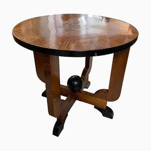 Italian Art Deco Round Wooden Side Table, 1930s
