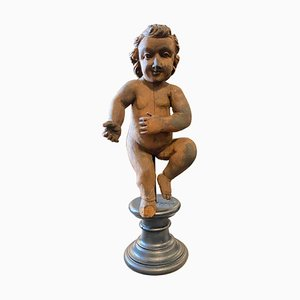 Antique Italian Hand-Carved Wooden Figure of a Child, 1880s
