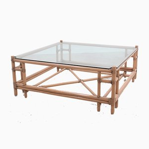 Large Vintage Rattan Coffee Table from McGuire, 1970s