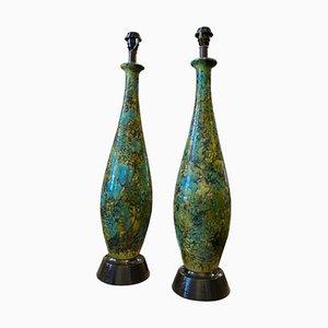 Grandes Lampes de Bureau Bleue, Verte et Noire en Céramique, 1970s, Set de 2