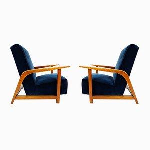 Italian Lobby Lounge Chairs in Blue Velvet, 1940s, Set of 2