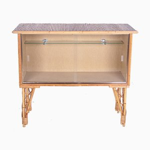 Bamboo Bar Cabinet with Glass Doors