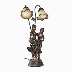 Vintage French Decorative Table Lamp in Spelter Bronze with Female Figures