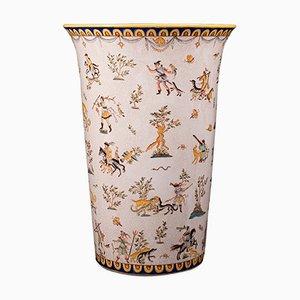 Large Vintage Orientalist Ceramic Umbrella Holder or Vase