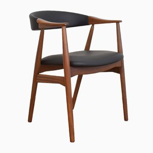 Mid-Century Danish Teak & Leather Armchair by Th. Harlev for Farstrup Møbler, 1950s