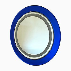 Round Blue Backlit Mirror from Cristal Art, 1970s