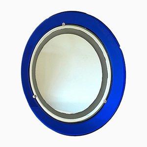 Runder Beleuchteter Spiegel in Blau von Cristal Art, 1970er