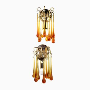 Waterfall Wall Lamps in Brass with Amber-Colored Murano Glass Drops, 1960s, Set of 2