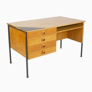 Restored Desk on Black Iron Legs with Ceramic Inlay, 1960s