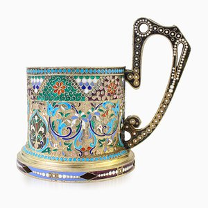 20th Century Imperial Russian Solid Silver-Gilt & Enamel Tea Glass Holder, C.1900