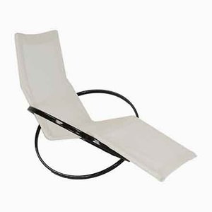Jetstar Rocking Chair in Brown Lacquered Steel and Cream Canvas by Roger Lecal, France, 1970s