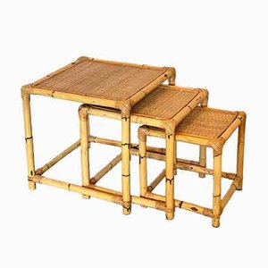 Wicker and Bamboo Nesting Tables, 1970s, Set of 3