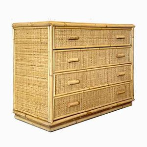 Wicker and Bamboo Chest of Drawers, 1970s