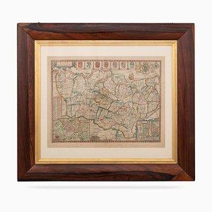 Carte du Kent avec ses Cités & Boucles Découverte par John Speed, 1670s