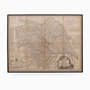 Mappa della Contea di York, XVIII secolo di Emanuel Bowen, metà XVIII secolo