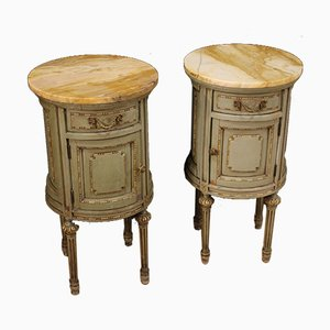 Cylindrical Bedside Tables with Marble Tops, Set of 2