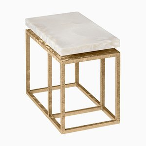 Lineup Side Table in White Resin and Engraved Metal by Claudio Cappellini for Hessentia