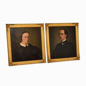 Peintures de Portrait Antique à l'Huile, Set de 2