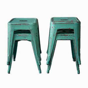 French Industrial Stools from Tolix, 1950s, Set of 4